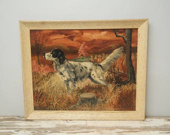 1963 Hunting Dog Painting Springer Spaniel