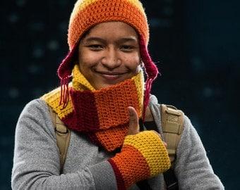 Crochet fingerless Gloves, in Jayne colors