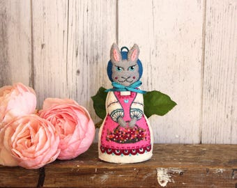 Easter Hare -or Lady Rabbit. Hand embroidered felt art doll with basket of Spring fowers