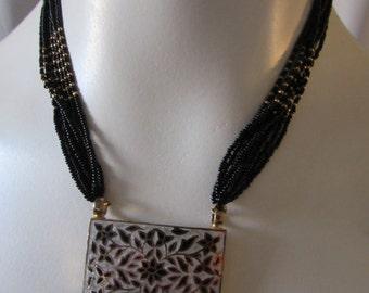 Cloisonne beaded Necklace Goldwash over Sterling Asian Inspired vintage high fashion