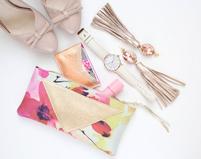 Reserved for Hane / FLARE 138 /Cotton pouch-natural leather pouch-zipper pouch-floral print-make up bag-cosmetic purse-brush case-multicolor