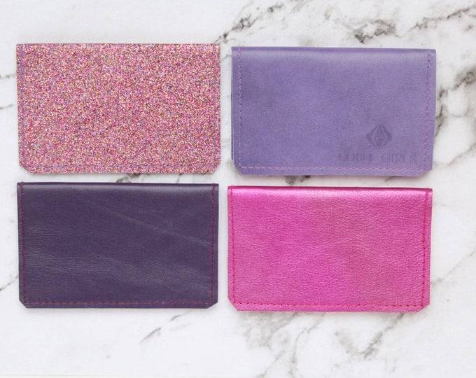 Purple shades natural leather double credit card wallet / Ready to Ship / minimalist wallet/simple card case/pink purple/Choose your color
