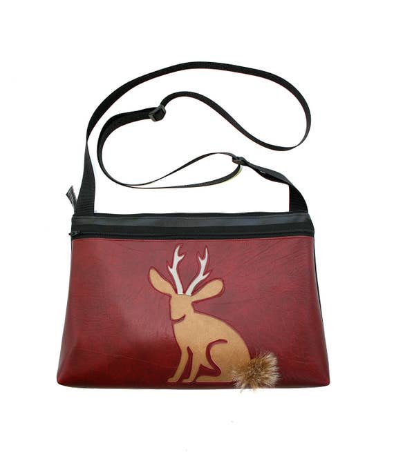Jackalope, dark red vinyl, fake fur, medium crossbody, vegan leather, zipper top