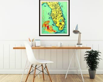 Old Florida Map Art, Vintage Florida Map Art print, Aqua Yellow, Coastal Art, Florida State Map Art, Mid Century Modern Art,  MCM wall art