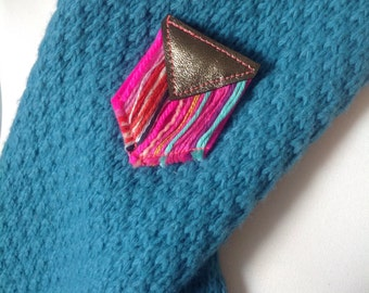 Textile and Leather Pennant -  Banner Brooch - Chevron Design - Recycled Yarns - Geometric Brooch - Chevron Brooch - Textile Art Brooch