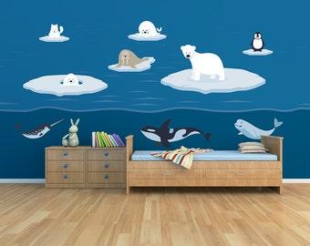 Polar Arctic Sea Animals Set Printed Matte Removable Vinyl Wall Art childs bedroom kids room ice iceberg whale polar dolphin penguin fox