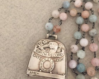 Vintage Sterling Silver Birth Record Rattle Necklace,  Aquamarine Gemstone Chain,  No Monogram