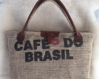 Handmade Leather and Coffee Sack purse, tote, bag,repurposed, recycled