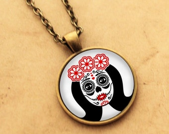 Sugar Skull Necklace - Valentines Heart Pendant 3 Day of the Dead Rockabilly Pin-up Girl Cabochon Gothic Black Punk