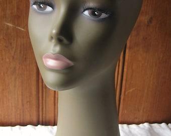 Sleek Female Mannequin - Vintage Head Form without Ears - Dark Skin, Subtle Makeup, Pink Lips - Photo Prop Bust - Wig, Hat Shop Display