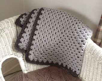 Chunky Grey Blanket // Crochet // Handmade