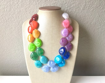 Rainbow Beaded Necklace, Colorful Jewelry, Chunky statement necklace, big beaded necklace, rainbow jewelry, rainbow baby