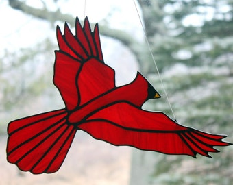 Stained Glass Cardinal Bird Large Suncatcher, Glass Art, Bird Sun Catcher