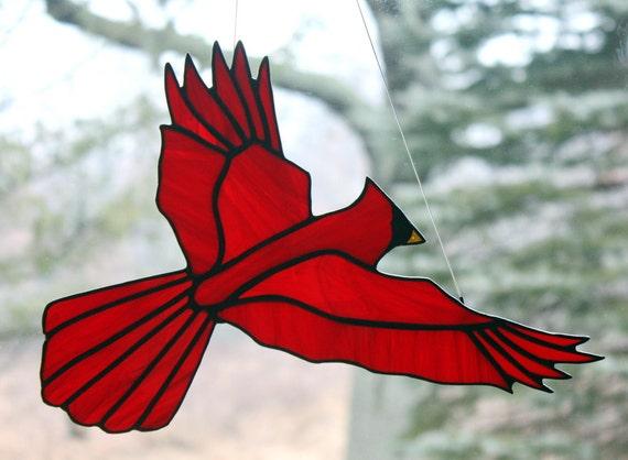 Stained Glass Cardinal Bird Large Suncatcher