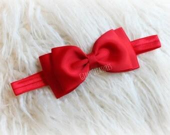 Baby Red Bow Headband. Baby Bow Headband. Red Headband. Baby Headband. Newborn Headband. Girl Headband. Snow White Bow Headband.