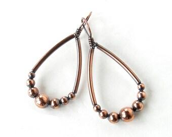 Copper teardrop hoops - oxidized antiqued solid copper bead earings