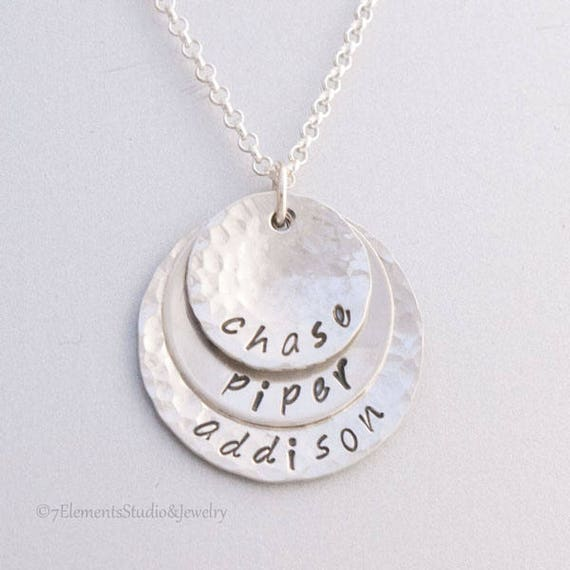 Mother's Necklace, Hand Stamped Grandmother's Necklace,  Personalized Sterling Silver Pendants Hammered