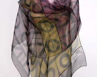 Silk Evening Wrap Artist-made Shibori Geometric Wrap