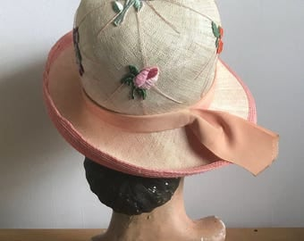 1960s Straw Cloche Hat with Flower Appliques Peach Underside And Grosgrain Ribbon Kurt Jr by Tom Hann