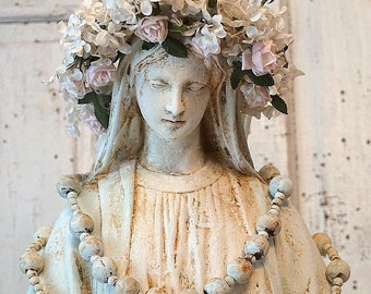 Large Virgin Mary statue w/ halo shabby cottage chic Madonna figure painted rosary floral crown French Nordic home decor anita spero design