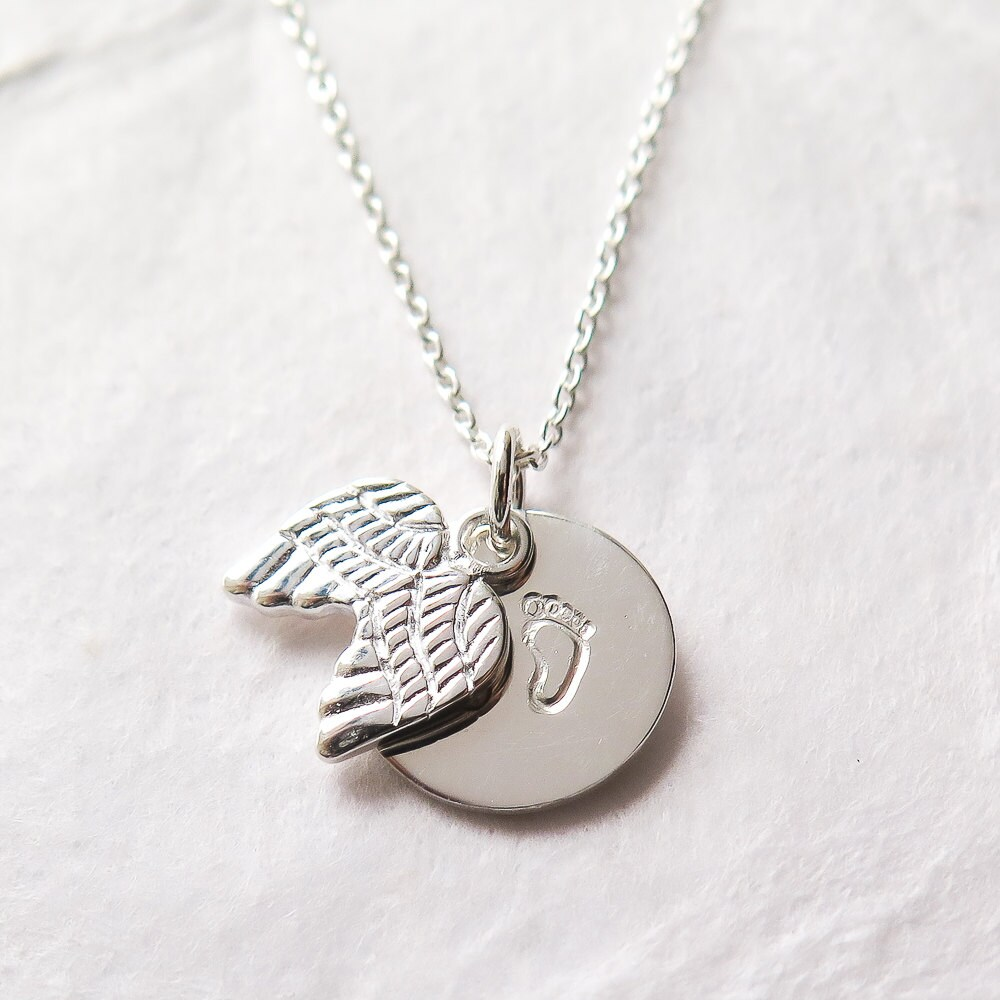 Miscarriage necklace baby loss baby footprints angel wings miscarriage necklace baby loss baby footprints angel wings remembrance necklace pregnancy loss miscarriage jewelry sterling silver aloadofball Choice Image