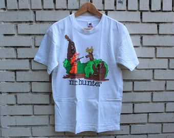 Vintage OFF THE LEASH Novelty Shirt Size L Large Spring Ford tag Deer Hunting Comic Humor Funny Made in U.S.A.