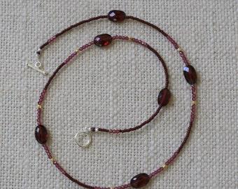 Delicate handmade beaded garnet, vermeil, vintage glass bead necklace