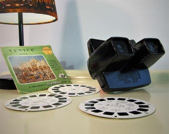 Vintage dark and brown Bakelite View Master with 3 Reels of 3 dimensional pictures of Venice