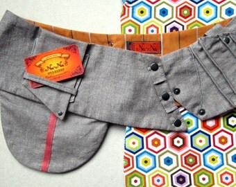 FREE SHIPPING Handmade rough linen belt with pockets