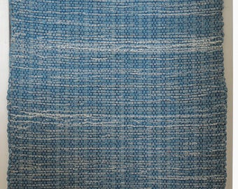 "Hand Woven Rag Rug - Denim with Blue Grey Fringe - 22"" x 54"""