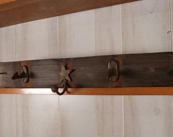 Rustic Coat Rack Iron Hooks Vintage Barrel Wood  Architectural Salvage