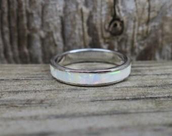 Vintage 925 Sterling Silver Lab Opal Eternity Ring