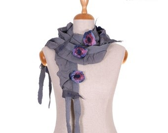 SALE!!! elegant felt, felted necklace, collar, jewerly, wrap, gorget, neckwear, fairy floral grey with pink, blue flowers, gift - by inmano