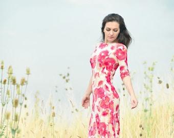 Maxi Dress, Jersey Dress, Floral Poppy Dress
