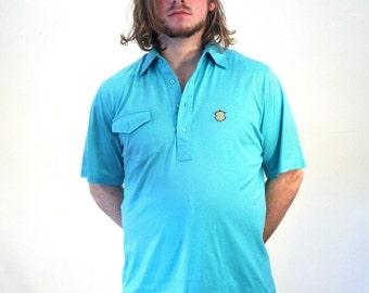 70s Aquamarine Golf Shirt, Blue Green Golf Shirt, Knit Golf Shirt, Titleist Golf Shirt, Vintage Golf Shirt, Vintage Polo Shirt, L