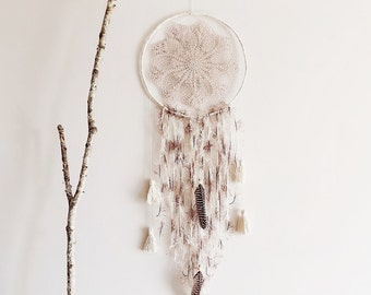 Large dream catcher, boho dreamcatcher, crochet doily, bedroom decor, wall hanging, handmade, pastel, unique, home decor, boho bedroom, gift