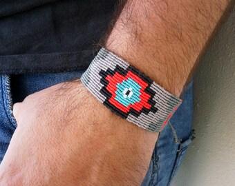 Macrame Bracelet - Mens Bracelet - Boho Bracelet - Aztec Bracelet - Tribal Bracelet - Statement Bracelet - Grey Red Turquoise - Gift for Him