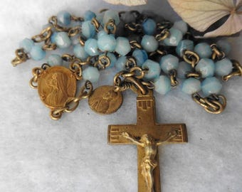 Antique French Catholic Lourdes Blue Glass Chapelet Rosary, Virgin, Devotion, Saint, Bernadette, Mary, Religious, Crucifix, Cross, chaplet