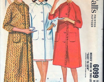 """Vintage 1961 McCall's 6099 Robe in Two Lengths Sewing Pattern Size 12 Bust 32"""" UNCUT"""