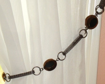 Gold and Black Bead color chain Curtain Tie Back~Single~22""