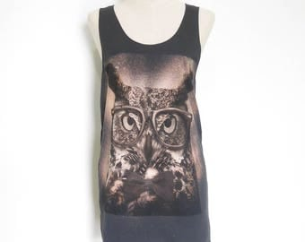Owl Glasses funny tank top Animal tee Art women Shirt Men Tank top Women Tank Top Graphic tees teen girl Women Shirt Screen Print