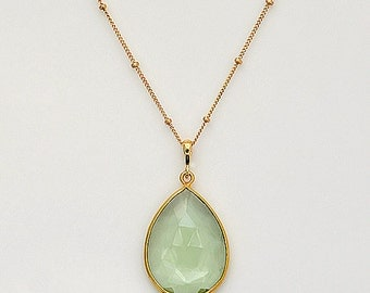 Green Amethyst Necklace, Green Amethyst Pendant, Gold Necklace, Satellite Chain Necklace, Long Necklace, Amethyst Jewelry, Gift for her