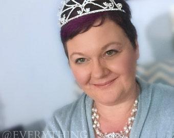 Vintage Inspired - Old Hollywood - Bridal Necklace - Three Strand Ivory Pearls - Rhinestones