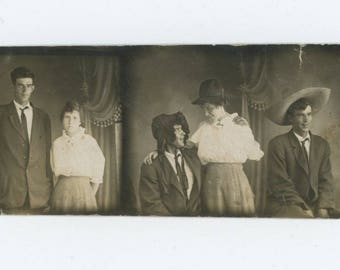 Vintage Arcade Photo Strip, c1910s: Couple Try on Different Hats (74567)