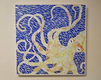 Mosaic Octopus Art, Yellow octopus 24 x 24 stained glass mosaic, Coastal art, Beach art