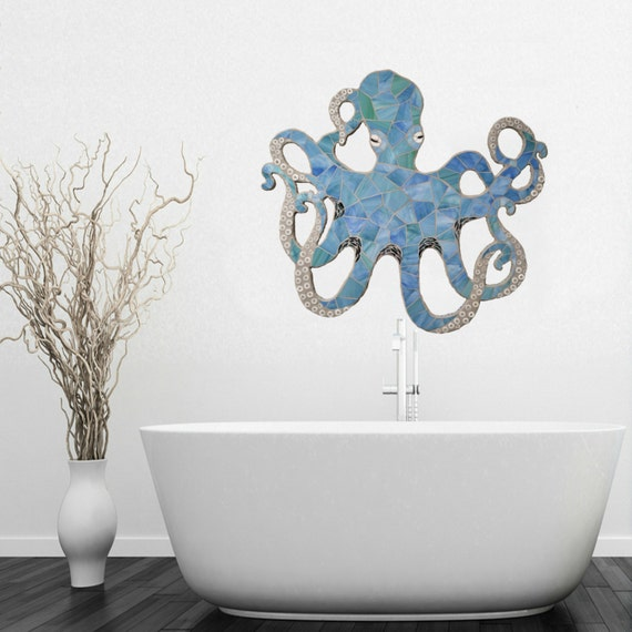 Octopus Mosaic, Stained Glass on Wood, Swirling Tentacles. Coastal Decor, Beach, Blue Green Octopus