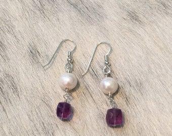 Amethyst, Pearl Earrings