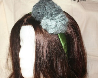 FINAL SALE - Grey Knitted Flower on Green Headband