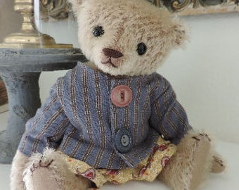 Webster Crumb, OOAK Mohair Artist Bear, Aleta Breese