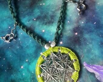 Green merkaba necklace with serotonin molecule and hemp macrame